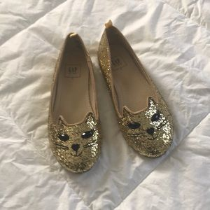 Sparkly gold cat flats, size 1
